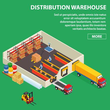 Grand entrepôt de distribution avec des travailleurs chargeant ou déchargeant aux camions. Bâtiment industriel isométrique.