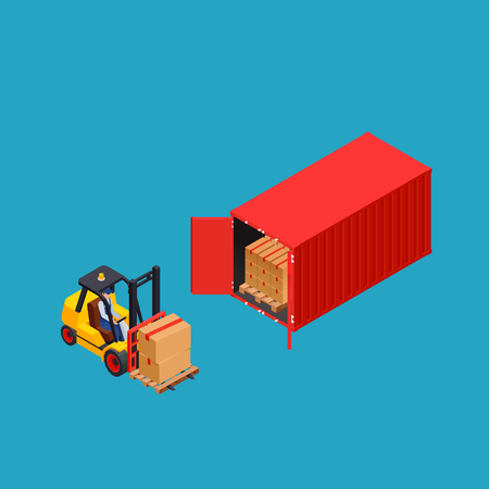 Concept marine cargo port Illustration