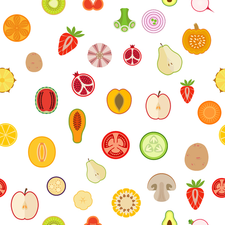 Pattern of fruits and vegetables.