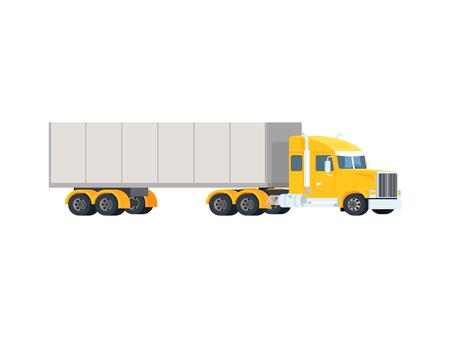 Grote semi-vrachtwagen. Concept logistiek en levering lading auto transport. De zware Amerikaanse rode tractor trekt de aanhangwagen. Vector plat trendy illustratie Stock Illustratie