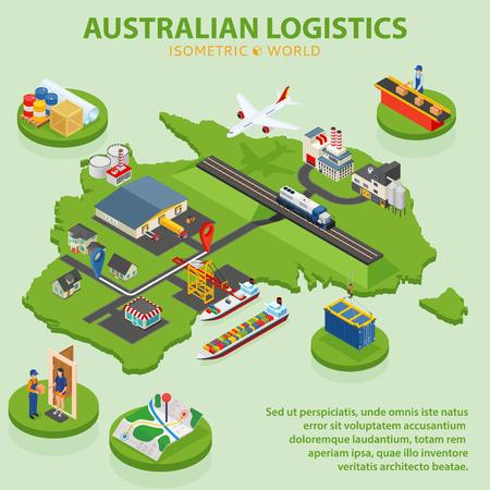 Australian Logistics - Flat 3d isometric vector illustration. Global shipping and logistics infographic.
