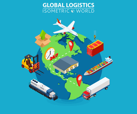 Global logistics cargo flat isometric pixel art modern design concept vector illustration. Vettoriali