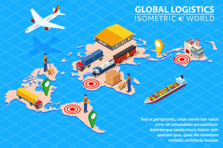 Global logistics network Flat 3d isometric vector illustration Set of air cargo trucking rail transportation maritime shipping. Çizim