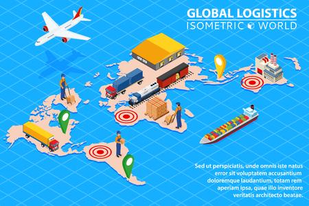Global logistics network Flat 3d isometric vector illustration Set of air cargo trucking rail transportation maritime shipping. Vettoriali