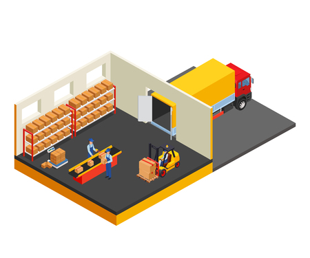 depot: Loading or unloading a truck in the warehouse. Forklifts move the cargo. Illustration