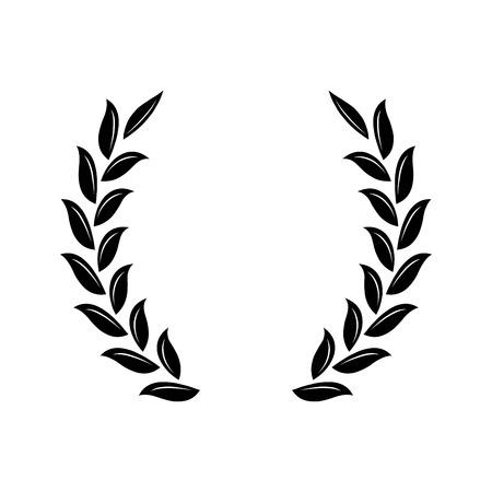 Black laurel wreath - a symbol of the winner. Wheat ears icon.