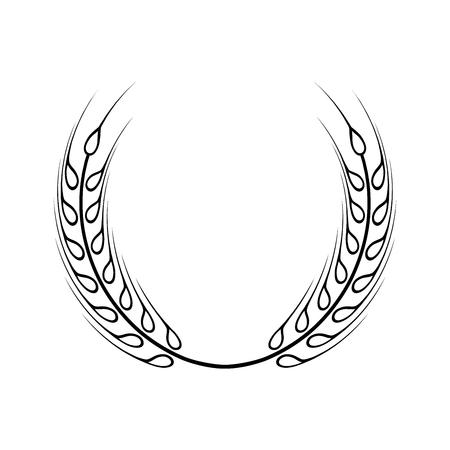 검은 월계수 화 환 - 승자의 상징. 밀 귀 아이콘입니다.
