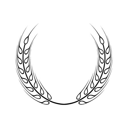 Black laurel wreath - a symbol of the winner. Wheat ears icon.