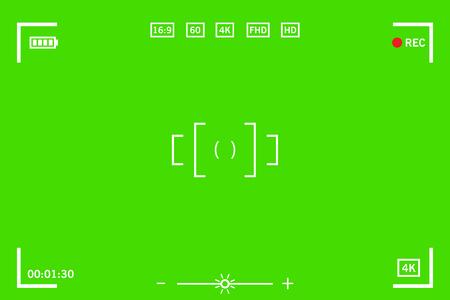 Chromakey modern digital video camera focusing screen isolated on green background