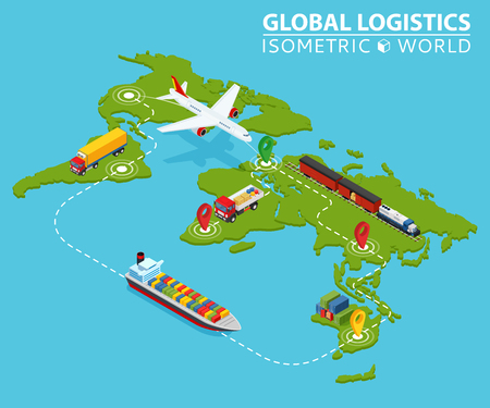 Global logistic isometric vehicle Infographic. Ship, cargo truck, van logistics service. Import Fast delivery shipping. Illustration