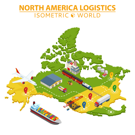 USA transportation and logistics. Delivery and shipping infographic elements. Vector Illustration