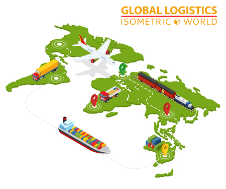 Global logistic isometric vehicle info graphic. Ship cargo truck van logistics service. Import export chain. Ensured deliveries drawing.
