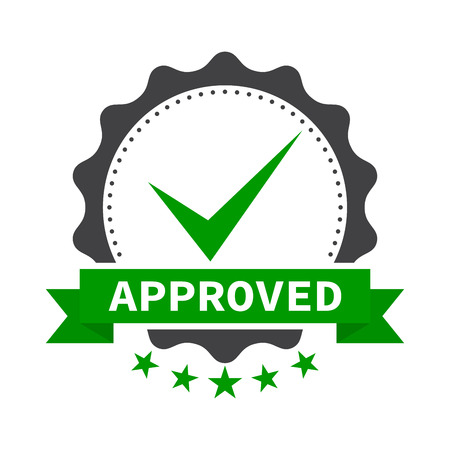 Approved certificate icon with five stars - isolated on white background Illustration