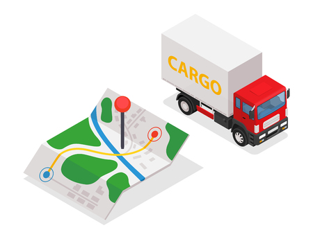 Delivery cargo and map with pins. Illustration
