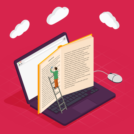 Online education isometric icons composition with laptop book smartphone electronic library and cloud computing conceptual images