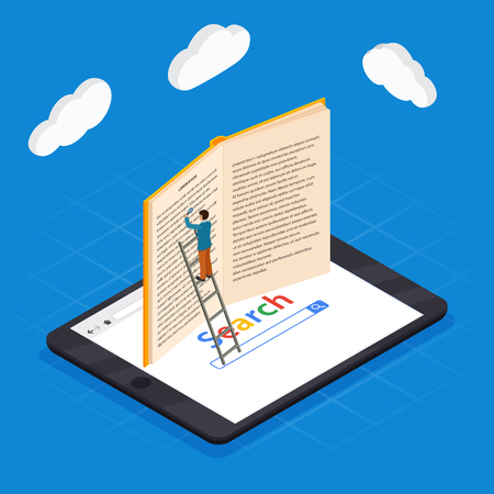 Online education isometric icons composition with laptop book smartphone electronic library and cloud computing conceptual images vector illustration.