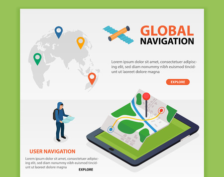 Flat 3d isometric mobile GPS navigation maps vector. World silhouette pin. Tablet with gps navigator