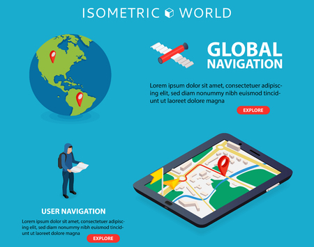 Flat 3d isometric mobile GPS navigation maps vector. World silhouette pin. Tablet with gps navigator.