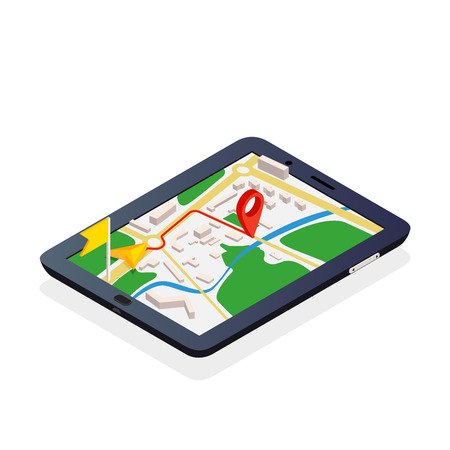 3d isometric mobile GPS navigation concept, vector on white background