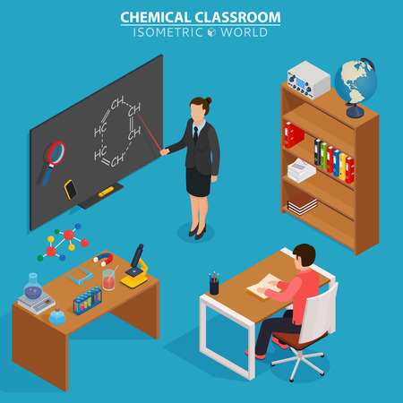 Chemical classroom. School education isometric design concept with teacher at blackboard and pupil in classroom. Illustration