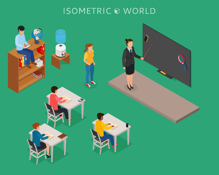 School education isometric design concept with teacher at blackboard and pupil in classroom. Illustration