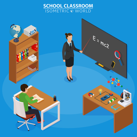 School education isometric design concept with teacher at blackboard and pupil in classroom