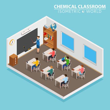 Szkoła i nauka koncepcji izometrycznej z nauczycielem i dziećmi na niebieskim tle