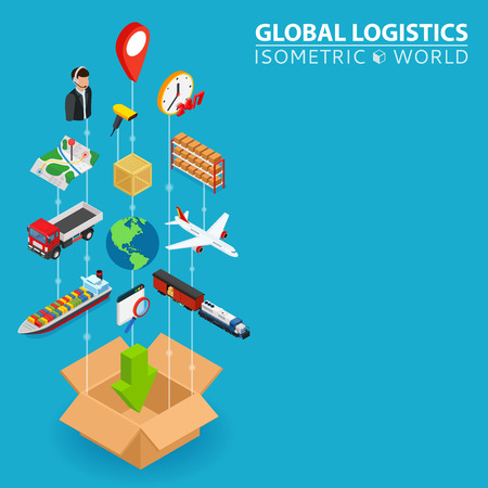 Logistic integrated 3d banner. Digital network isometric progress concept. Connected graphic design line growth system. Abstract background for shipping delivery and distribution. Vector Infographic. Illustration