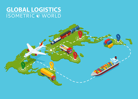 Global Logistic Isometric Vehicle Infographic. Ship Cargo Truck Van Logistics Service. Import Export Chain. Ensured Deliveries Drawing.