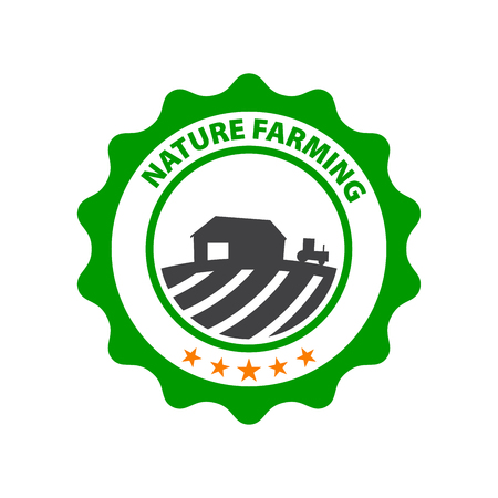 Natural Farming. Round green icon with field and farm. Illustration