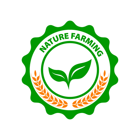 Natural Farming. Round green logo green leaves. Vegan vector icon. Illustration