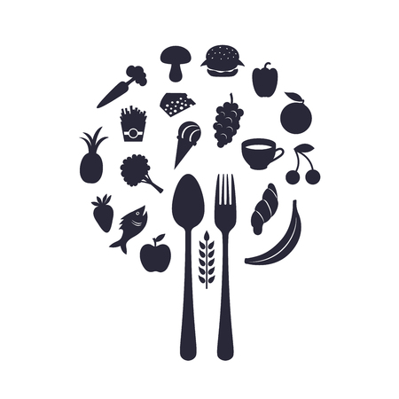 Restaurant Food Icons In Form Of Sphere With Fork And Spoon, Vector Illustration Illustration