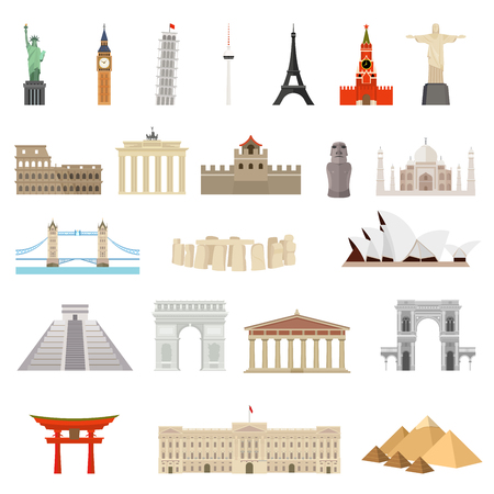 Countries of the world. Architecture, monument or landmark icon.