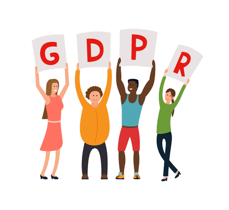 GDPR concept illustration. People hold posters with GDPR over their head.