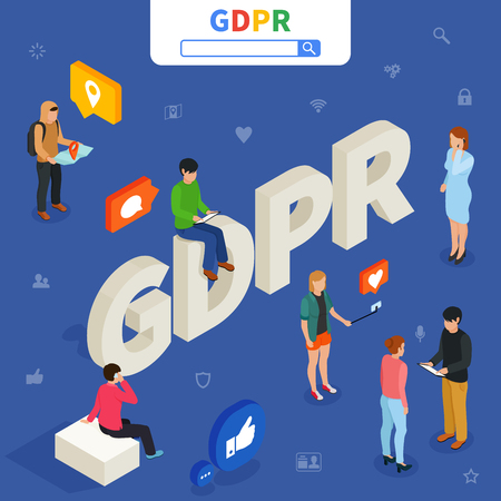 GDPR isometric concept. Vector illustration.