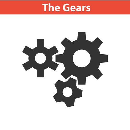 Three gear sign simple icon on white background Illustration
