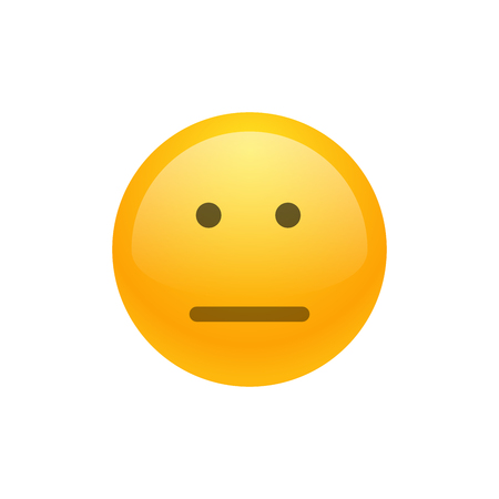 Isolated yellow emoticon expressionless smiley. Pocker-faced. Vector illustration. Illustration
