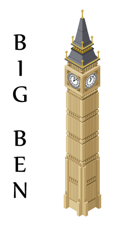 Isometric highly detailed Big Ben tower.