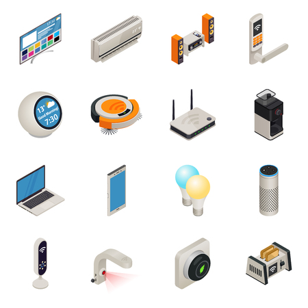 Smart home internet connected devices isometric colorful icon set. Vector illustration Illustration