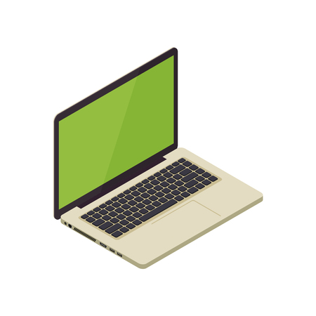 Gold isometric vector notebook laptop illustration