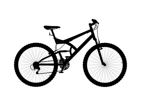 Vector silhouette two suspension mountain bike - vector illustration isolated on white background