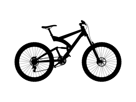 Vector silhouette full suspension mountain bike isolated on white background