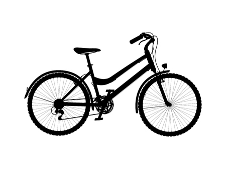 Vector silhouette of city bike isolated on white background