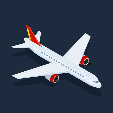 Large passenger Airplane 3d isometric illustration. Flat 3d isometric high quality transport. Vehicles designed to carry large numbers of passengers. Vector. Illustration
