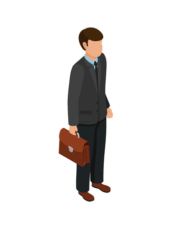 Isometric friendly caucasian businessmen holding briefcase with documents. Image for banner or infographics. Vector illustration. Illustration