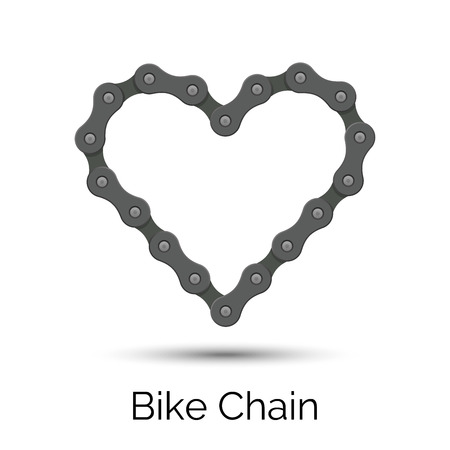 Heart created from a bicycle chain. Bike chain heart shape. Stock Vector - 107338262