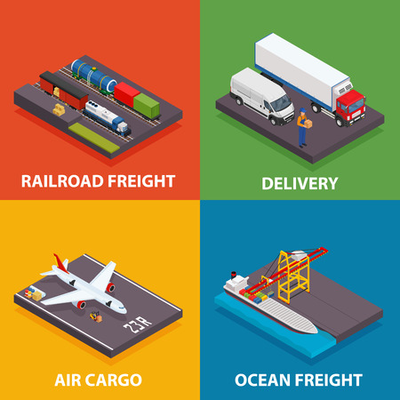 Cargo transportation including ocean and railroad freight, air delivery, trucking - vector isometric design concept illustration
