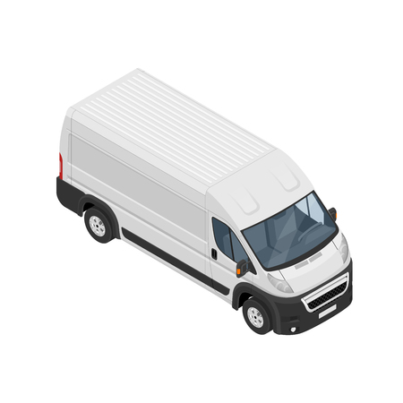 Isometric commercial van icon isolated on a white background. Flat 3d vector isometric illustration. For infographics and design.