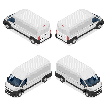 Commercial white van icons set isolated on a white background. Flat 3d vector isometric illustration. For infographics and design.