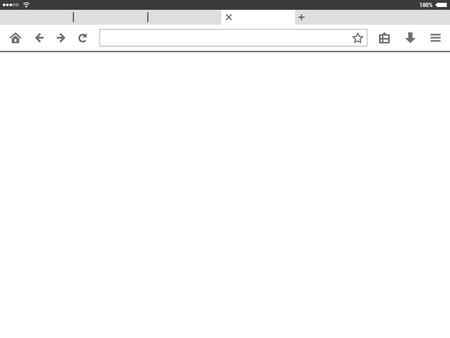 Tablet mobile browser window vector illustration.